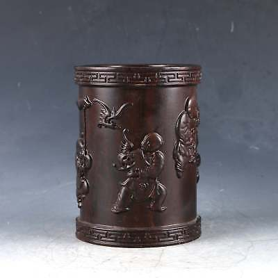 Chinese Hardwood Hand Carved Child Brush Pot DY0383