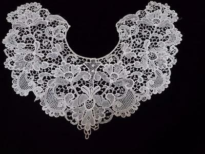 """VINTAGE LACE COLLAR WHITE COTTON 14 """"inner 9"""" wide"""