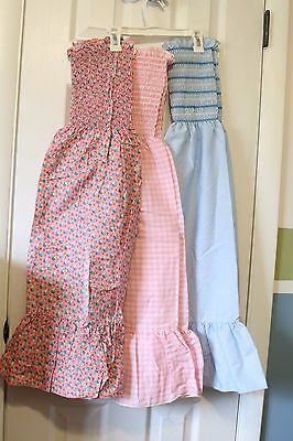 Vintage Lot of 3 Hand Home Made Girls Sundress Elastic Chest Size 8-10