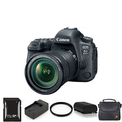 Canon EOS 6D Mark II DSLR Camera with 24-105mm + 2 Batteries, 64GB & More
