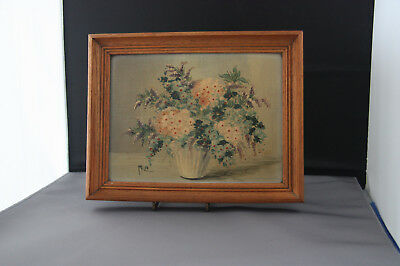 Vintage Oil Painting  Flowers.  Bought in Newquay, Cornwall in 1957