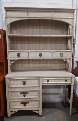 Boho Chic Dixie Shangri-La Faux Bamboo Writing Desk With Hutch Chinoiserie