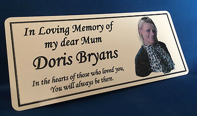 Personalised Memorial Rememberance Bench Photo Plaque Weatherproof Aluminium