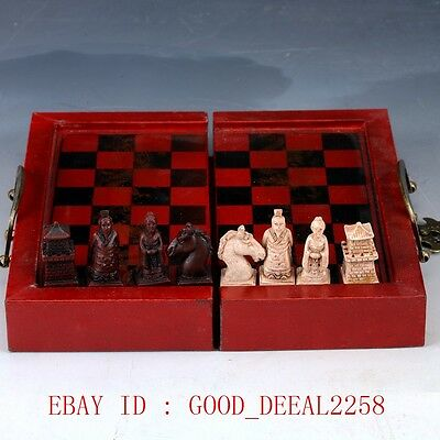 Old  Handmade Chess With Wooden Box  ZJ24
