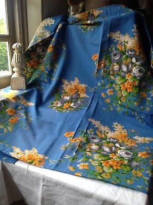 "Vintage French Fabric Blue Coral Floral Cotton Panel Boussac Romanex 43"" X 39"""