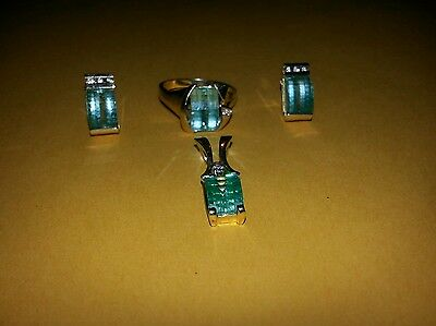 Strell 14K 585 gold Blue Topaz & Diamond jewelry set ring earrings pendant