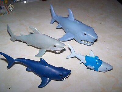 lot of 4 toy sharks - jaws