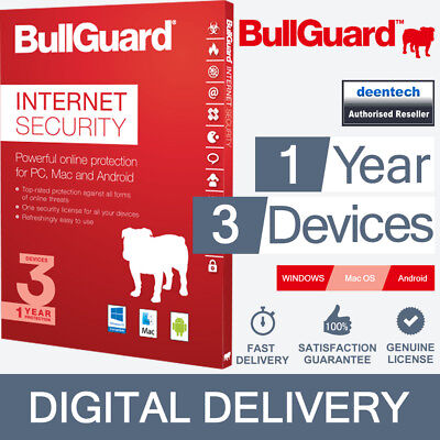BullGuard Internet Security 2018 (1Year/3PCs) Genuine Authentic License Windows