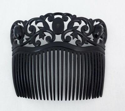 Vintage Antique Black Celluloid Beaded Ornate Victorian Style Hair Comb
