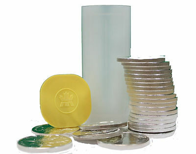 Roll of 25 Silver 1oz Canadian Maple Leaf $5 RCM Canada Coins in a Mint Tube