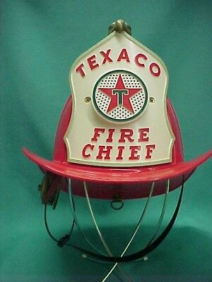 Vintage 1960's Child's Texaco Fire Chief Helmet Hat with Eagle and Microphone