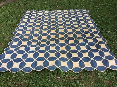 Antique blue & White Applique Quilt-Coverlet-Early-Possibly Pennsylvania