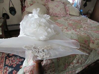 "Romantic Wedding Hat Donna Vinci Couture 22.5"" Size M Pristine Condition!!"