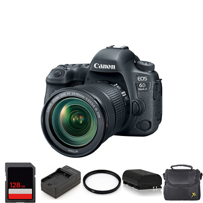 Canon EOS 6D Mark II DSLR Camera with 24-105mm + 2 Batteries, 128GB & More