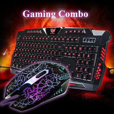 Gaming 3 Colors lluminated USB Wired Keyboard+ LED Backlight Crack Mouse Combo