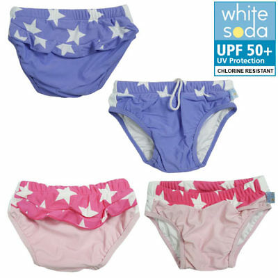 New Girls Baby Toddler White Soda Swim Nappy Pants, Swimwear Togs  UPF 50+