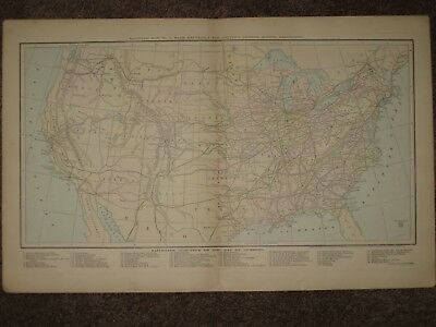 1872 United States Railroads Antique Map Colton Geography Atlas