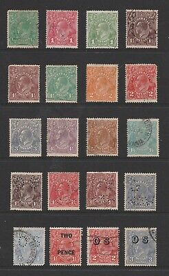 Australian Pre-Decimal Stamps - 20 x KGV Heads Used Collection (#140902)