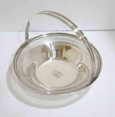 8.25 in - Sterling Silver Tiffany & Co Antique Openwork Serving Bowl with Handle
