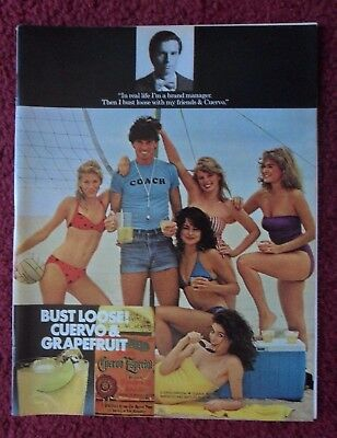 1981 Print Ad Jose Cuervo Tequila ~ Beach Volleyball Sexy Girls Bust Loose