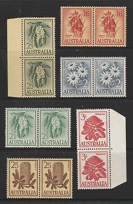 Australian Pre Decimal Stamps Mint - Native Flowers Pairs MNH (#140909)