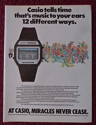 1981 Print Ad CASIO Melody Alarm Watch ~ Tells Time That's Music to Your Ears