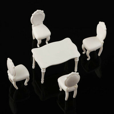 1:20 White Model Table with 4 Chairs Dining Room Set Inner Scenery 5/Sets