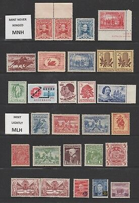 Australian Pre Decimal Stamps Mint - 28 Higher Value Stamps MNH/MLH (#140904)