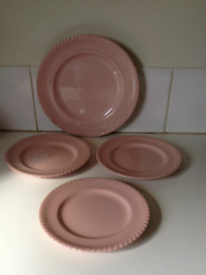 Vintage Johnson Aust 4 x Pie Crust Pink Plates Retro 1950 Pastel High Tea