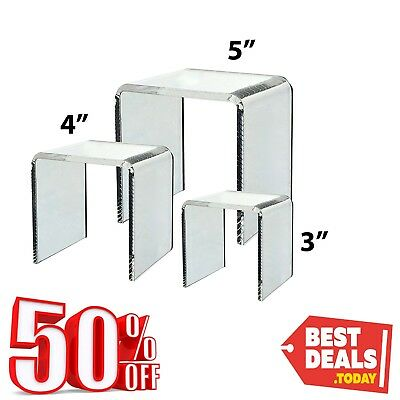 Women Girl Party Countertop Display Stand 3 Clear Acrylic Riser Set Store Stands