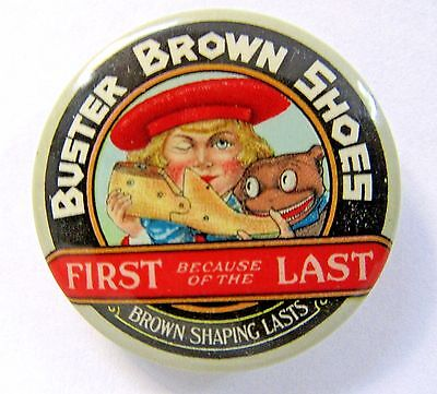 """scarce early BUSTER BROWN SHOES miniature 1.25"""" celluloid pocket mirror *"""