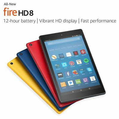 "New Amazon Fire HD 8 Tablet 8"" Display 16 GB 7th Gen 2017 black blue red yellow"