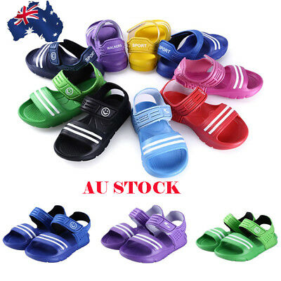Kids Unisex Ankle Strap Sandals Colorful Antiskid Flat Casual Summer Shoes Size