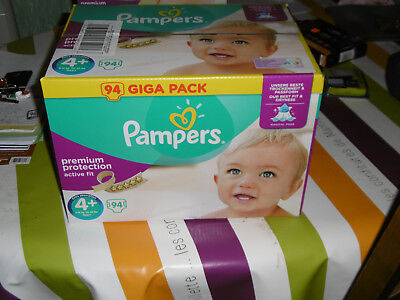 Pampers Giga Pack 94 Couches Active Fit Premium Protection Taille 4+ Midi 9 18kg