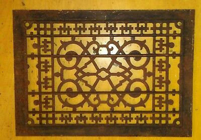 Antique Cast Iron Floor Grate Register Floor Grille Victorian  13 3/4 by 9 3/4