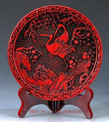 Chinese lacquerware Handwork Carved Crane & Flower Collection Plate  QQ12