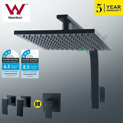 WELS 8'' ABS Square Black Rain Shower Head Gooseneck Wall Arm Set / Mixer Taps