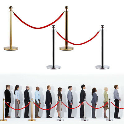 2pcs Stainless Steel Stanchion Posts w/Red Velvet Rope Queue Barrier Gold/Silver