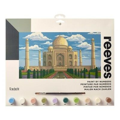 Reeves Large Taj Mahal Painting By Numbers Set Acrylic Paint & Brush Kit