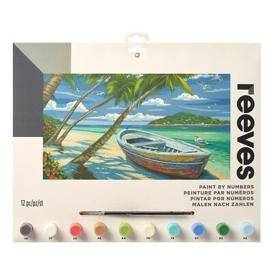 Reeves Large Tropical Beach Painting By Numbers Set Acrylic Paint & Brush Kit