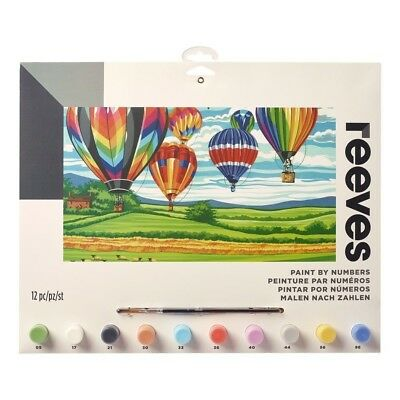 Reeves Large Hot Air Balloons Painting By Numbers Set Acrylic Paint & Brush Kit