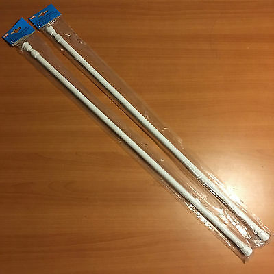 """Pair Of 1/2"""" Round Spring Tension Rods 28-48"""" White 535Mm"""