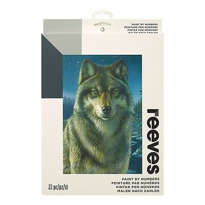Reeves Medium Night Watch Wolf Painting By Numbers Set Acylic Paint & Brush Kit