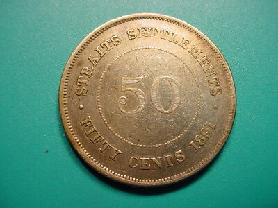 Straits Settlements~Silver 1891 50-Cents in Very Nice Condition!