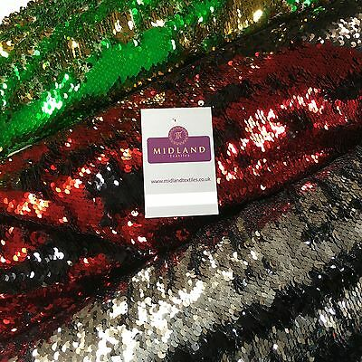 "Reversible Mermaid 2 Colour way Changing Sequin on net dress fabric 58"" M774"