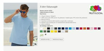 T-SHIRT MAGLIETTA UOMO Value Weight  FRUIT OF THE LOOM 25 COLORI MAN koszulka