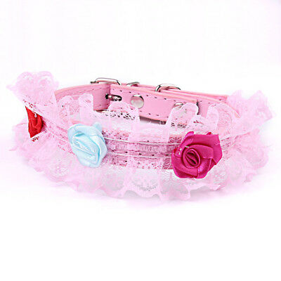 Gorgeous Small Dog Cat Collar Lace Pearl Charm Pet Collars Neck Flowers