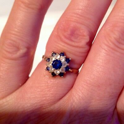 Antique Sapphire 9ct Daisy Ring UK circa 1920 size 7