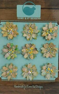 Small paper flowers for scrapbooking - Spring green garden - pk 9
