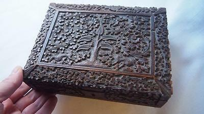 Indian Carved Sandalwood Box 19th Century - Great Detail